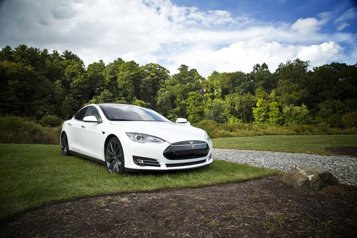 a white tesla is parked in grass
